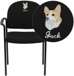 Embroidered Comfort Black Fabric Stackable Steel Side Reception Chair with Arms [BT-516-1-BK-EMB-GG]