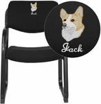 Embroidered Black Fabric Executive Side Reception Chair with Sled Base [BT-508-BK-EMB-GG]