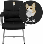 Embroidered Black Leather Executive Side Reception Chair with Silver Sled Base [H-9637L-3-SIDE-EMB-GG]