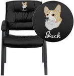 Embroidered Black Leather Executive Side Reception Chair with Titanium Frame Finish [BT-1404-BKGY-EMB-GG]