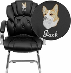 Embroidered Black Leather Button Tufted Transitional Side Reception Chair with Sled Base [GO-908V-BK-SIDE-EMB-GG]