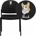 Embroidered Comfort Black Vinyl Stackable Steel Side Reception Chair