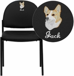 Embroidered Comfort Black Vinyl Stackable Steel Side Reception Chair [BT-515-1-VINYL-EMB-GG]