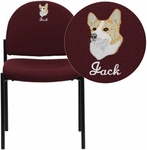Embroidered Comfort Burgundy Fabric Stackable Steel Side Reception Chair [BT-515-1-BY-EMB-GG]