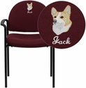 Embroidered Comfort Burgundy Fabric Stackable Steel Side Reception Chair with Arms