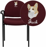 Embroidered Comfort Burgundy Fabric Stackable Steel Side Reception Chair with Arms [BT-516-1-BY-EMB-GG]