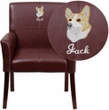 Embroidered Burgundy Leather Executive Side Reception Chair with Mahogany Legs