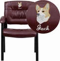 Embroidered Burgundy Leather Executive Side Reception Chair with Black Frame Finish