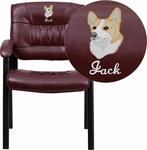 Embroidered Burgundy Leather Executive Side Reception Chair with Black Frame Finish [BT-1404-BURG-EMB-GG]