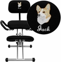Embroidered Ergonomic Kneeling Chair with Back and Handles in Black Fabric