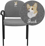 Embroidered Comfort Gray Fabric Stackable Steel Side Reception Chair with Arms [BT-516-1-GY-EMB-GG]