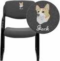 Embroidered Gray Fabric Executive Side Reception Chair with Sled Base