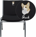 Embroidered HERCULES Series Big & Tall 1000 lb. Rated Black Fabric Stack Chair