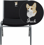 Embroidered HERCULES Series Big & Tall 1000 lb. Rated Black Fabric Stack Chair [XU-60555-BK-EMB-GG]
