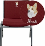 Embroidered HERCULES Series Big & Tall 1000 lb. Rated Burgundy Fabric Stack Chair [XU-60555-BY-EMB-GG]