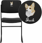 Embroidered HERCULES Series 1000 lb. Capacity High Density Black Vinyl Stacking Chair with Sled Base [XU-8700-BLK-B-VYL-30-EMB-GG]