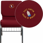 Embroidered HERCULES Series 18.5''W Church Chair in Burgundy Fabric with Book Rack - Silver Vein Frame [XU-CH-60096-BY-SILV-BAS-EMB-GG]