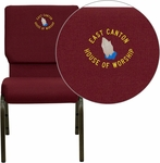 Embroidered HERCULES Series 18.5''W Stacking Church Chair in Burgundy Fabric - Gold Vein Frame [XU-CH-60096-BY-EMB-GG]