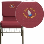 Embroidered HERCULES Series 18.5''W Church Chair in Burgundy Patterned Fabric with Book Rack - Gold Vein Frame [XU-CH-60096-BYXY56-BAS-EMB-GG]