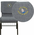 Embroidered HERCULES Series 18.5''W Church Chair in Gray Fabric with Book Rack - Gold Vein Frame [XU-CH-60096-BEIJING-GY-BAS-EMB-GG]