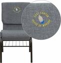 Embroidered HERCULES Series 18.5''W Church Chair in Gray Fabric with Book Rack - Gold Vein Frame