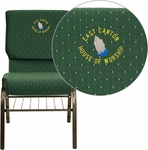 Embroidered HERCULES Series 18.5''W Church Chair in Green Patterned Fabric with Book Rack - Gold Vein Frame [XU-CH-60096-GN-BAS-EMB-GG]