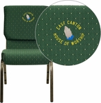 Embroidered HERCULES Series 18.5''W Stacking Church Chair in Green Patterned Fabric - Gold Vein Frame [XU-CH-60096-GN-EMB-GG]