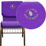 Embroidered HERCULES Series 18.5''W Church Chair in Purple Fabric with Book Rack - Gold Vein Frame [XU-CH-60096-PU-BAS-EMB-GG]