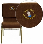 Embroidered HERCULES Series 18.5''W Church Chair in Brown Fabric with Cup Book Rack - Gold Vein Frame [FD-CH02185-GV-10355-BAS-EMB-GG]