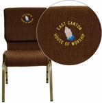 Embroidered HERCULES Series 18.5''W Stacking Church Chair in Brown Fabric - Gold Vein Frame [FD-CH02185-GV-10355-EMB-GG]