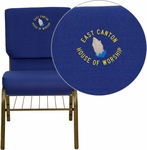 Embroidered HERCULES Series 18.5''W Church Chair in Navy Blue Fabric with Book Rack - Gold Vein Frame [XU-CH-60096-NVY-BAS-EMB-GG]