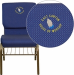 Embroidered HERCULES Series 18.5''W Church Chair in Navy Blue Patterned Fabric with Book Rack - Gold Vein Frame [XU-CH-60096-NVY-DOT-BAS-EMB-GG]