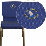 Embroidered HERCULES Series 18.5''W Stacking Church Chair in Navy Blue Patterned Fabric - Gold Vein Frame [XU-CH-60096-NVY-DOT-EMB-GG]