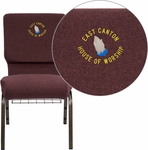Embroidered HERCULES Series 18.5''W Church Chair in Plum Fabric with Cup Book Rack - Gold Vein Frame [FD-CH02185-GV-005-BAS-EMB-GG]