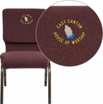 Embroidered HERCULES Series 18.5''W Stacking Church Chair in Plum Fabric - Gold Vein Frame [FD-CH02185-GV-005-EMB-GG]