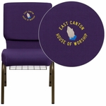 Embroidered HERCULES Series 18.5''W Church Chair in Royal Purple Fabric with Cup Book Rack - Gold Vein Frame [FD-CH02185-GV-ROY-BAS-EMB-GG]