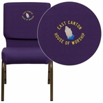Embroidered HERCULES Series 18.5''W Stacking Church Chair in Royal Purple Fabric - Gold Vein Frame [FD-CH02185-GV-ROY-EMB-GG]