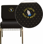 Embroidered HERCULES Series 21''W Church Chair in Black Dot Patterned Fabric with Cup Book Rack - Gold Vein Frame [FD-CH0221-4-GV-S0806-BAS-EMB-GG]