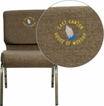 Embroidered HERCULES Series 21''W Stacking Church Chair in Brown Fabric - Gold Vein Frame [FD-CH0221-4-GV-S0819-EMB-GG]