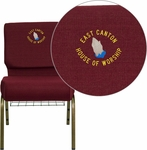 Embroidered HERCULES Series 21''W Church Chair in Burgundy Fabric with Cup Book Rack - Gold Vein Frame [FD-CH0221-4-GV-3169-BAS-EMB-GG]