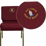 Embroidered HERCULES Series 21''W Stacking Church Chair in Burgundy Fabric - Gold Vein Frame [FD-CH0221-4-GV-3169-EMB-GG]