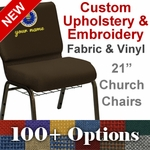 Embroidered HERCULES Series 21''W Customizable Church Chair with Book Rack and Gold Vein Frame [FD-CH-21-GV-UNP-BAS-CUSTOM-EMB-GG]