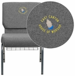 Embroidered HERCULES Series 21''W Church Chair in Gray Fabric with Book Rack - Silver Vein Frame [XU-CH0221-GY-SV-BAS-EMB-GG]