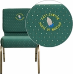 Embroidered HERCULES Series 21''W Stacking Church Chair in Hunter Green Dot Patterned Fabric - Gold Vein Frame [FD-CH0221-4-GV-S0808-EMB-GG]