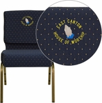 Embroidered HERCULES Series 21''W Stacking Church Chair in Navy Blue Dot Patterned Fabric - Gold Vein Frame [FD-CH0221-4-GV-S0810-EMB-GG]