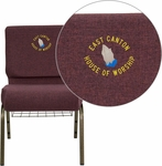 Embroidered HERCULES Series 21''W Church Chair in Plum Fabric with Cup Book Rack - Gold Vein Frame [FD-CH0221-4-GV-005-BAS-EMB-GG]