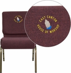 Embroidered HERCULES Series 21''W Stacking Church Chair in Plum Fabric - Gold Vein Frame [FD-CH0221-4-GV-005-EMB-GG]