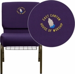 Embroidered HERCULES Series 21''W Church Chair in Royal Purple Fabric with Cup Book Rack - Gold Vein Frame [FD-CH0221-4-GV-ROY-BAS-EMB-GG]