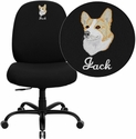 Embroidered HERCULES Series Big & Tall 400 lb. Rated Black Fabric Executive Swivel Chair