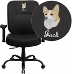 Embroidered HERCULES Series Big & Tall 400 lb. Rated Black Leather Executive Swivel Chair with Adjustable Arms [WL-735SYG-BK-LEA-A-EMB-GG]